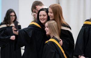 Crandall Grads taking selfie before Convocation