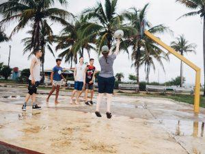 playing pickup basketball
