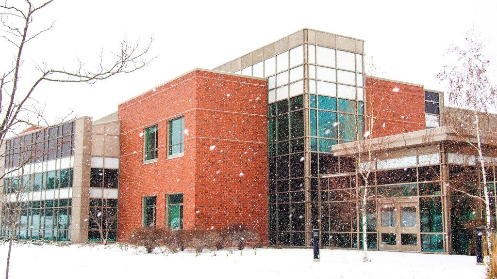 Stultz Hall snowing